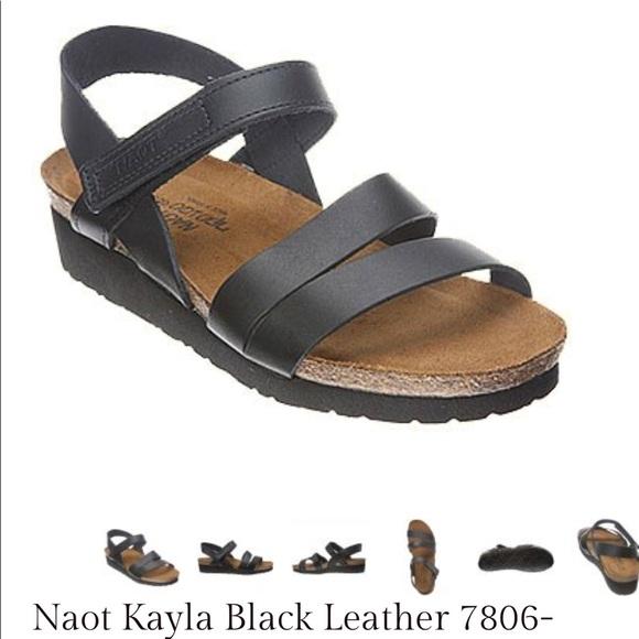 c861574eb9cd Naot Kayla black leather sandals
